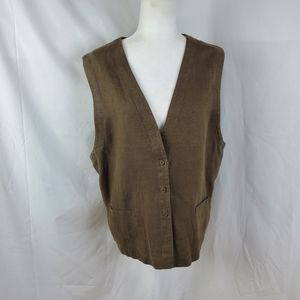 Eileen Fisher Brown Linen Vest